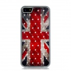 Metal the Union Jack Pattern Crystal Decorated Protective Case for Iphone 5 - Red + Black + White