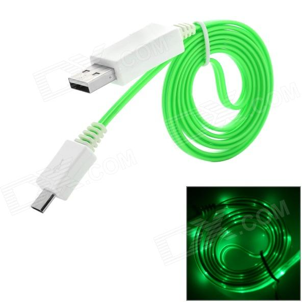 USB to Micro USB Data/Charging Flat Cable w/ PF Light for Samsung / Xiaomi / HTC + More - Green 103b universal usb to micro usb data charging cable for samsung htc more deep pink 100cm