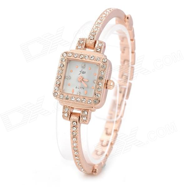 JW Women's Zinc Alloy Band Analog Quartz Bracelet Wrist Watch - Rose Gold split leather band analog quartz watch handwork retro style bracelet for women 1 x ag4