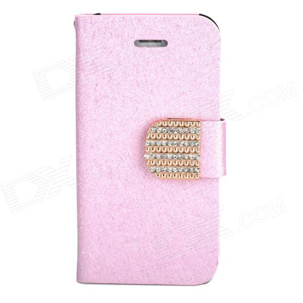 Stylish Plastic + PU Leather Flip-Open Stand Case w/ Card Slots for Iphone 4 / 4S - Pink glossy leather wallet stand cover with 5 card slots for iphone 7 4 7 white