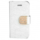 Stylish Plastic + PU Leather Flip-Open Stand Case w/ Card Slots for Iphone 4 / 4S - Silver White