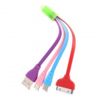 Jin Bai Jia Bunte Flashing USB zu 30 Pin / Micro USB / Mini-USB-Ladekabel - Bunt