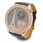 Eiffel Tower Big Dial PU Leather Band Analog Quartz Wrist Watch for Women - Black + Golden