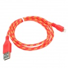 USB to 8-Pin Lightning Data/Charging Nylon Cable for iPhone 5 / iPad 4 / Mini - Red + Yellow