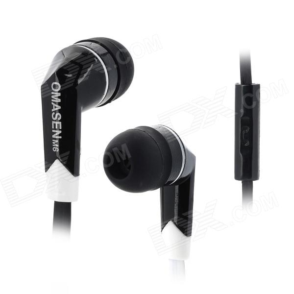 OMASEN OM-M6 Stylish Stereo In Ear Earphone w/ Microphone - Black + White (110 CM) omasen om78 stylish stereo earphone w microphone for iphone ipod htc samsung white 3 5mm
