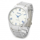 FeiWo 8127G Stainless Steel Analog Quartz Wrist Watch for Men - Silver + Blue