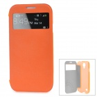Baseus Protective PU Leather Case w/ Transparent Window for Samsung Galaxy S4 I9500 I9508 - Orange
