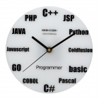 GeeKCooK GK1310002 Programming Language Wall Clock - White + Black