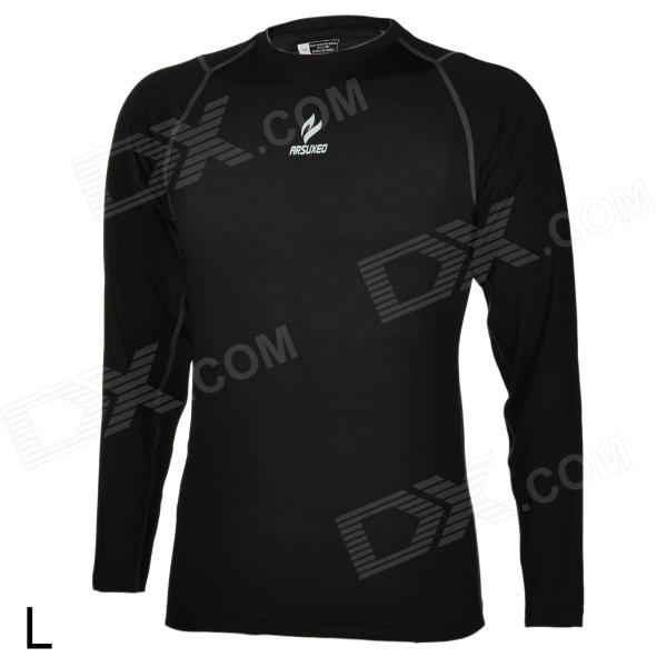 ARSUXEO 6002L Quick Drying Sports Tight Long-Sleeved Shirt - Black (Size L)