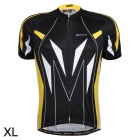 NUCKILY NJ505 Outdoor Cycling Quick Drying Short-Sleeve Jersey - Yellow + Black + White (Size XL)