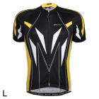 NUCKILY NJ505 Outdoor Cycling Quick Drying Short-Sleeve Jersey - Yellow + White + Black (Size L)