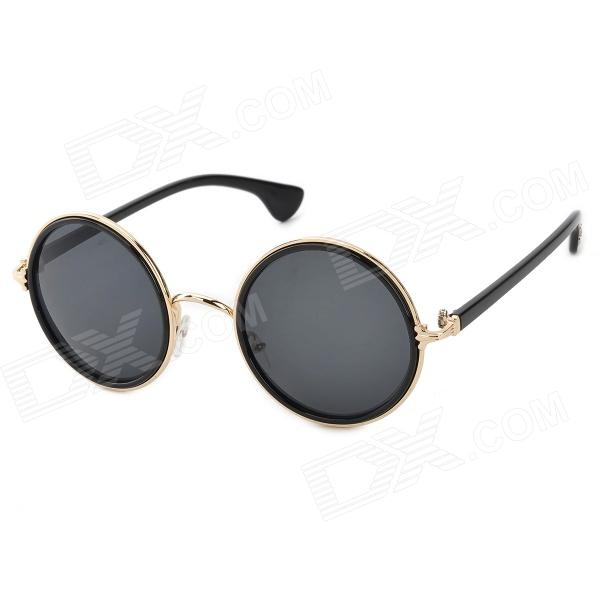 OREKA 3349 Round Frame UV400 Protection PC Lens Sunglasses - Black + Golden round metal frame uv protection sunglasses with box