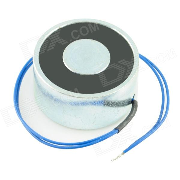 20 x 40mm DC Electro Holding Magnet - Black + Blue + Silver (Attractive Force 25kg, 12V, 22cm-Cable) holding the line
