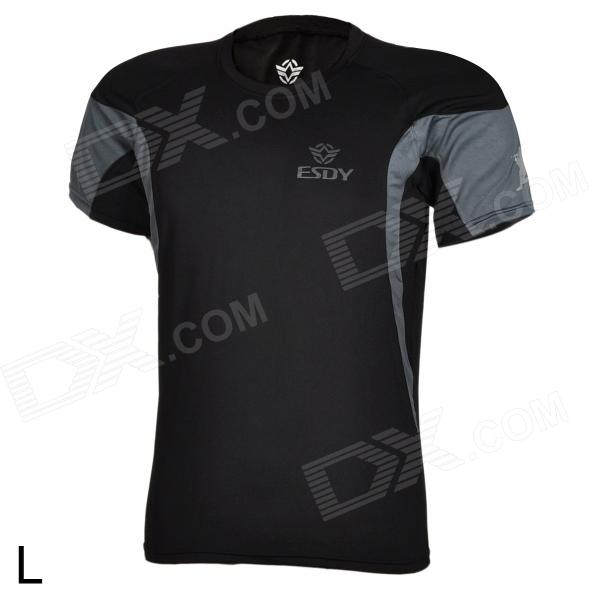 ESDY Outdoor Men's Quick Drying Round-Neck Short Tight T-Shirt - Black (Size L) esdy esdy 8869 outdoor men s quick drying round neck short t shirt dark grey size xxl