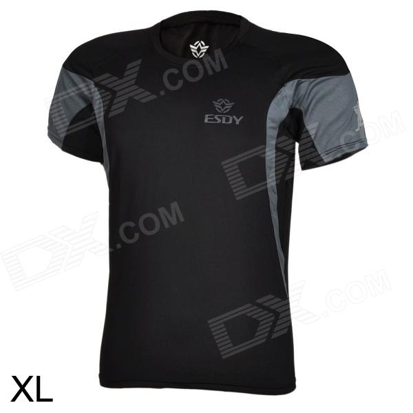 ESDY ESDY-8862 Outdoor Men's Quick Drying Round-Neck Short Tight T-Shirt - Black (Size XL) esdy esdy 8869 outdoor men s quick drying round neck short t shirt dark grey size xxl