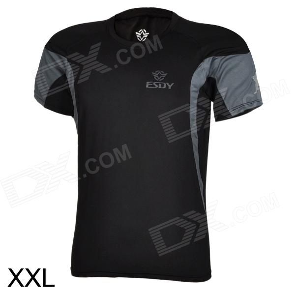 ESDY ESDY-8862 Outdoor Men's Quick Drying Round-Neck Short Tight T-Shirt - Black (Size XXL) esdy 611 men s outdoor sports climbing detachable quick drying polyester shirt camouflage xxl