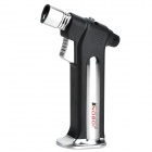 Jobon Windproof 1300'C Butane Gas Jet Flame Stand Welding Lighter for Cigar - Silver + Black