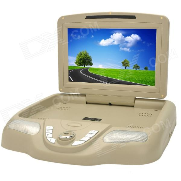 Universal Flip Down 10.2 TFT LCD 16:9 Car DVD Player w/ FM / SD / USB - Beige car headrest dvd player pupug beige universal digital screen zipper car monitor usb fm tv game ir remote control two headphones