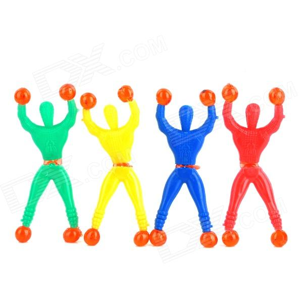 Cute Funny Rolling Down Little Man Style Rubber Toy - Green + Yellow + Red + Blue (4 PCS)