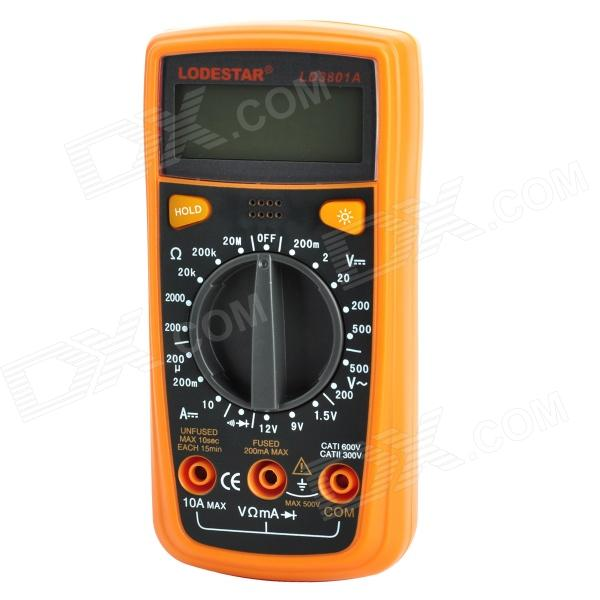 LODESTAR LD3801A Handheld 2.0 LCD Digital Multimeter / Voltmeter / Ohmmeter - Orange + Deep Grey pro skit mt 1210 2 0 lcd digital multimeter blue deep grey 1 x 9v battery