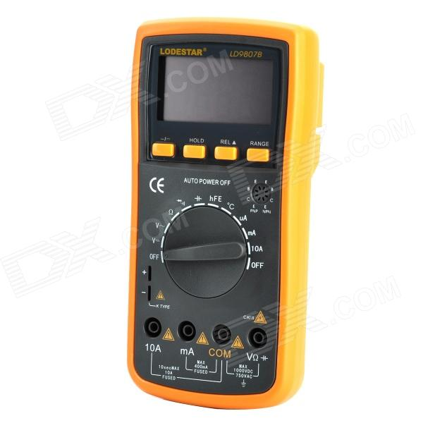 LODESTAR LD9807B Handheld Auto Range 2.7 LCD Digital Multimeter w/ Buzzer - Orange + Deep Grey - DXMultimeters<br>Brand LODESTAR Model LD9807B Quantity 1 Color Orange + deep grey Material Plastic LCD Display 2.7 Features Stable and auto range with buzzer Application Test circuit Max. Display 3999 DC Voltage 400mV / 4V / 40V / 400V / 1000V +/-(0.5%+4) AC Voltage 400mV / 4V / 40V / 400V / 750V +/-(0.8%+6) DC Current 400uA/4000uA / 40mA / 400mA / 10A +/-(1%+6) AC Current 400uA / 4000uA / 40mA / 400mA / 10A +/-(1.5%+10) Resistance 400ohm / 4Kohm / 40Kohm / 400Kohm / 4Mohm / 40Mohm +/-(0.8%+4) ohm Capacitance 4nF/40nF / 400nF / 40uF / 200uF +/-(2.5%+6) Frequency 100 / 1000 / 10K / 100K / 1M / 30MHz +/-(0.5%+4) Other Data Temperature: -40~1000C +/-(0.8%+4) Power Supply 1 x 9V battery Packing List 1 x Multimeter 2 x Test probes (100cm cable) 1 x Chinese user manual 1 x Temperature probe (93cm cable)<br>