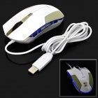 E-3LUE EMS109 USB 2.0 Wired 400 / 800 / 1600dpi Optical Mouse - White + Green Beige + Blue