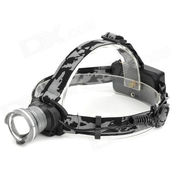 LWJ-45 600lm 3-Mode White Zooming Headlamp w/ CREE XM-L T6 - Grey (1 / 2 x 18650) 600lm 3 mode white bicycle headlamp w cree xm l t6 black silver 4 x 18650