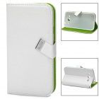 Protective PU Leather Wood Grain Flip Open Case for Samsung i9105 - White