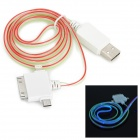 USB 2.0 Male to Lightning 8-Pin / 30-Pin / Micro USB Male Data Charging Cable w/ Blue Visible Light