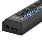High Speed 5Gbps USB 3.0 7-Ports Hub w/ Individual Switches - Black