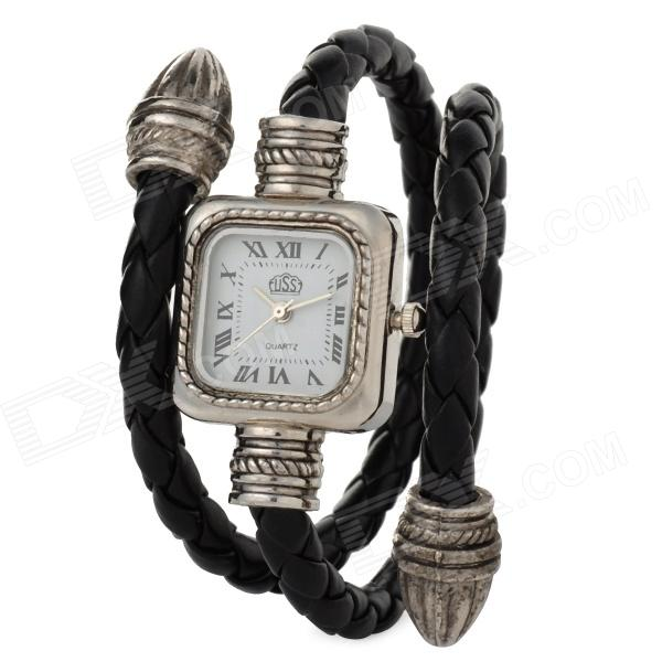 Snake Style PU Band Fashion Women's Quartz Analog Wrist Watch - Black + Silver sokotoo men s colored painted snake 3d print jeans fashion black slim stretch denim pants