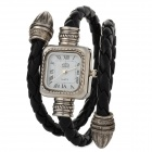 Snake Style PU Band Fashion Women's Quartz Analog Wrist Watch - Black + Silver