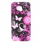 Butterfly Pattern Protective Silicone Back Case for HTC One Mini / M4 - Black + Purple