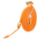 USB to 8-Pin Lightning / 30-Pin / Micro USB Flat Charging Cable for iPhone / Samsung - Orange