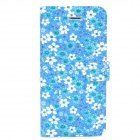 Stylish Flower Pattern Protective PU Leather Case w/ Holder for Iphone 5 - Blue + White