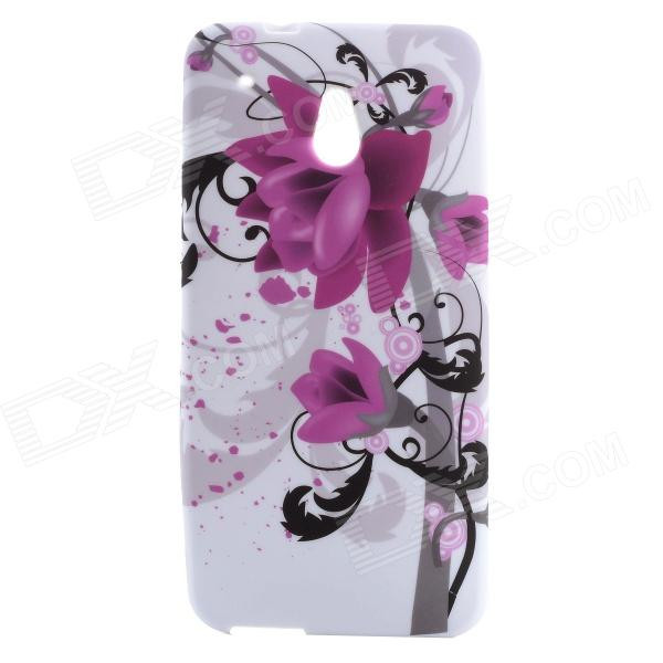 Flower Pattern Protective Silicone Back Case for HTC One Mini / M4 - White + Purple + Black protective plastic back case for htc one mini m4 pink