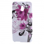 Flower Pattern Protective Silicone Back Case for HTC One Mini / M4 - White + Purple + Black