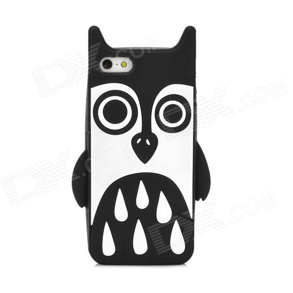 Cute Owl Style Protective Flexible Silicone Back Case for Iphone 5 - Black + White cute cartoon devil style silicone lint back case for iphone 5 5s black