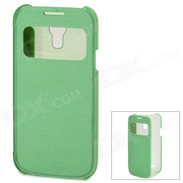 Protective PU Leather Case w/ Display Window for Samsung Galaxy S4 Mini - Green protective pu leather plastic case w display window for samsung galaxy s4 mini white