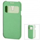 Protective PU Leather Case w/ Display Window for Samsung Galaxy S4 Mini - Green