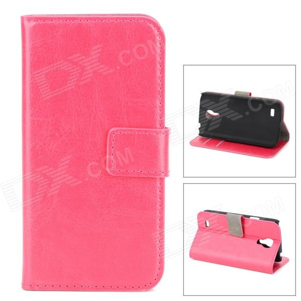 LXS9190 Protective PU Leather Case for Samsung Galaxy S4 Mini / i9190 - Deep Pink protective pu leather plastic case w display window for samsung galaxy s4 mini deep pink