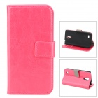 LXS9190 Protective PU Leather Case for Samsung Galaxy S4 Mini / i9190 - Deep Pink