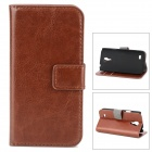 LXS9190 Suojaava PU Leather Case for Samsung Galaxy S4 Mini / i9190 - Ruskea