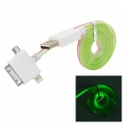 USB to 8-Pin Lightning / 30-Pin / Micro USB Data/Charging Cable w/ Green Light for iPhone / Samsung