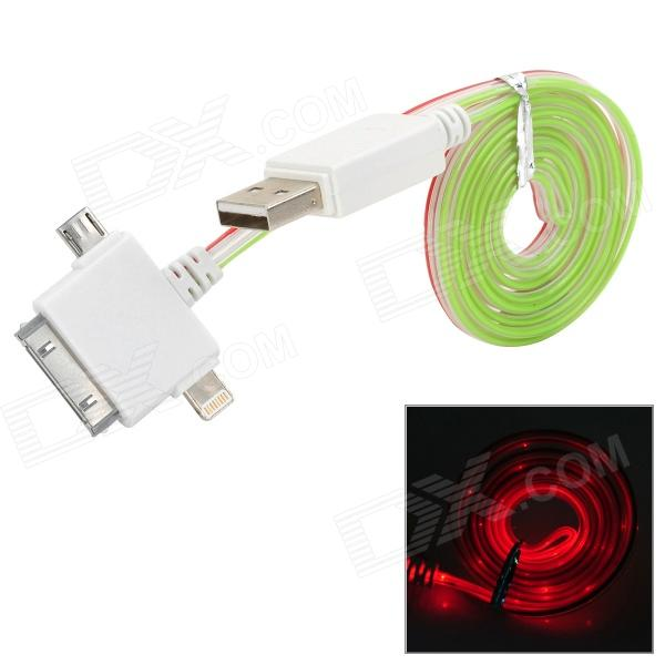 USB to 8-Pin Lightning / 30-Pin / Micro USB Data/Charging Cable w/ Red Light for iPhone / Samsung