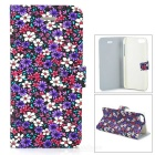 Protective Floral PU Leather Flip Open Case for Iphone 5 - Colorful