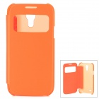 Protective PU Leather Case w/ Display Window for Samsung Galaxy S4 Mini - Orange