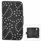 Leaf Pattern Protective Rhinestone + PU Leather Case for Samsung Galaxy S4 Mini - Black + Silver