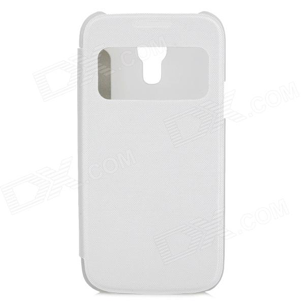 Protective PU Leather Flip Open Case w/ Transparent Window for Samsung Galaxy S4 Mini - White protective flip open pu leather case w display window for samsung s4 i9500 white black