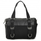 Men's Canvas + PU Leather Shoulder Bag - Black